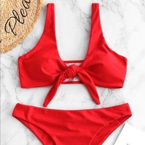 Red tie front bikini